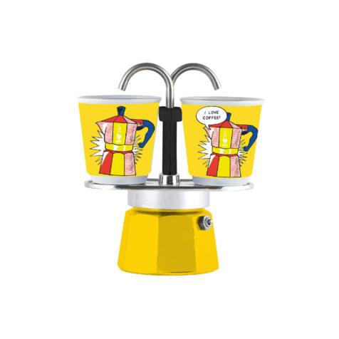 Bialetti Mini Express Lightenstain Espresso Maker With Cups 1x2