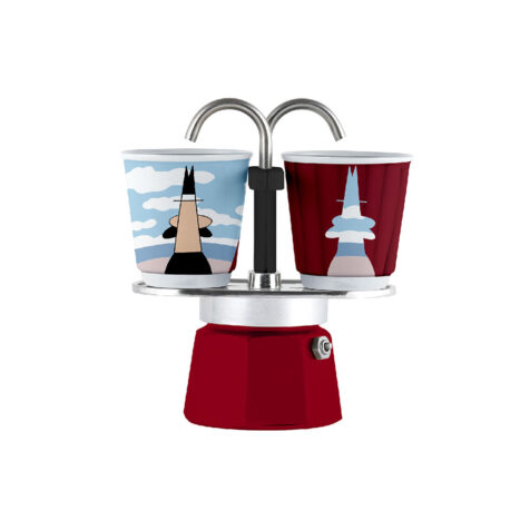 Bialetti Mini Express Magrite Espresso Maker With Cups 1x2