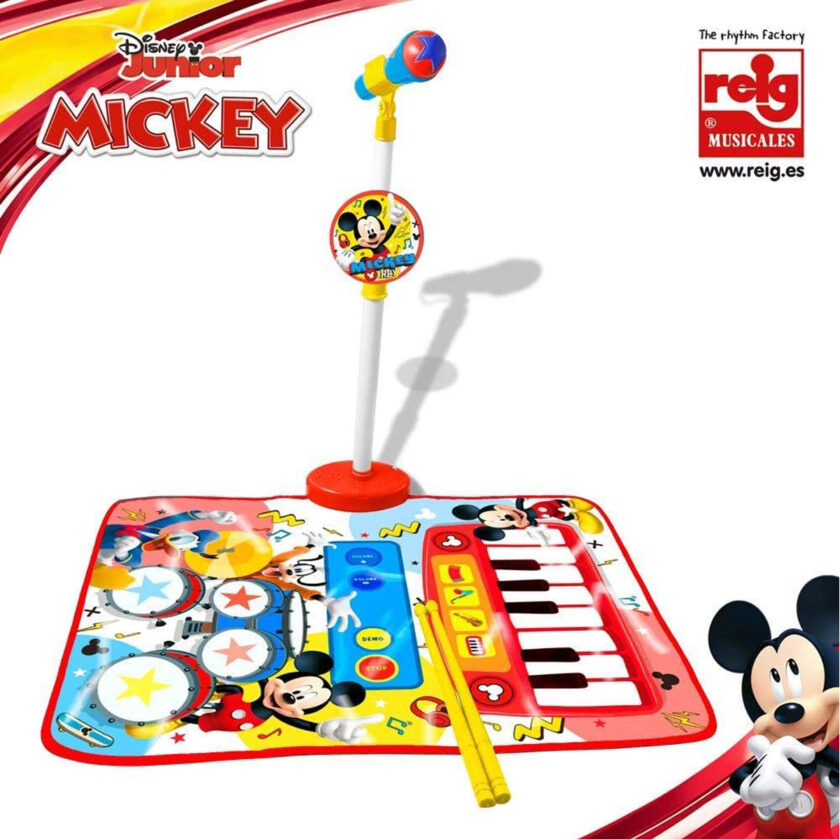 Reig-Disney Mickey Mouse Carpet, Drums, Piano And Microphone With Stand