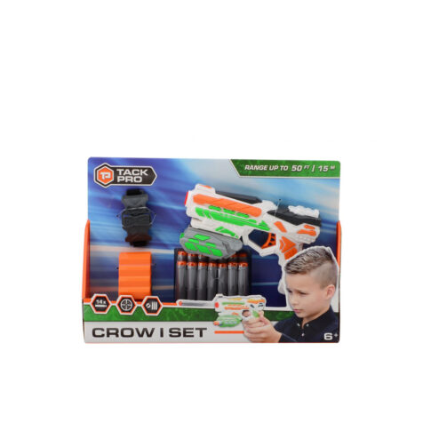 Johntoy-Tack Pro Crow I Set Plastic Pistol With 14 Darts And Accessories